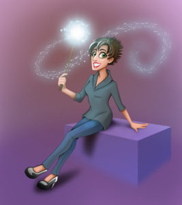 An artistic representation of Lauren by Grace Candido-Beecher. Lauren is holding a magic wand that is trailing sparks.