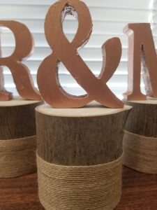 MR & MRS letters on cut wood with burlap
